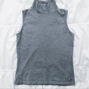 Tommy Hilfiger Stylish Gray Turtleneck Tank Top